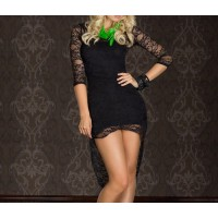 Stylish Round Collar Lace Swallowtailed 3/4 Sleeve Fitted Dress For Women