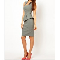 Stylish Square Neck Color Matching Sleeveless Peplum Dress For Women Gray