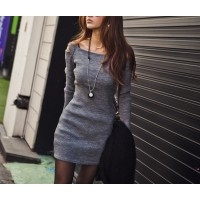 Stylish Square Neck Shoulder Hollow Out Solid Color Long Sleeve Slimming Ribbed Cotton Dress For Women Deep Gray/Black