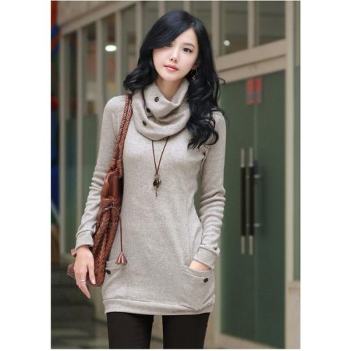 Trendy Long Sleeve Sweater With Scarf For Women (Trendy Long ...