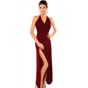V-Neck Solid Color Sleeveless Polyester Sexy Style Club Maxi-Dress For Women