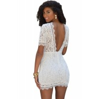 621aca48b51 Women Summer Straps Beach Chiffon Dress Sexy V Neck Open Back Lace ...