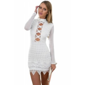 White Long Sleeved Keyhole Back Lace Dress