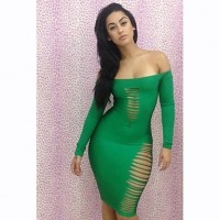 Women's Latest Sexy Green Cut Out Dresses