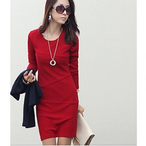 Women's round collar sheath mini dress Black/Red/Blue