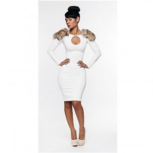 Women's Sexy Cut Out Slim Fit Knee-Length Dress White