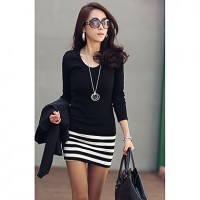 Women's Stripes Splicing Mini Dress Black/White