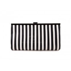 Casual and Trendy Style Women's Clutch With Stripes and Clip-Lock Closure Design Black