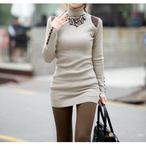 Casual Style Turtle Neck Bead Splicing Solid Color Long Sleeve Sweater For Women