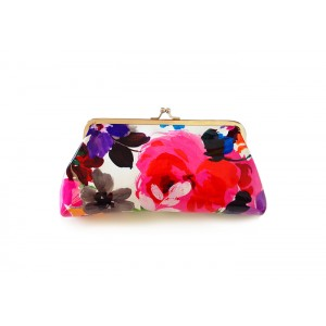 Elegant Women's Clutch Wallet With Floral Print and Kiss-Lock Closure Desig