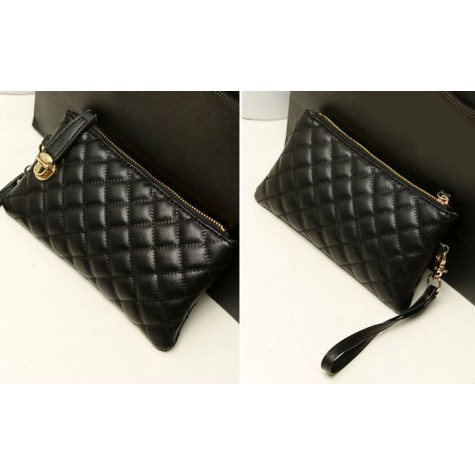 Fashion Women S Clutch Bag With Checked And Pu Leather Design