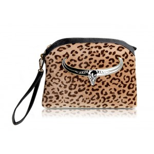 Fashion Women's Clutch Bag With Leopard Print and Metallic Design
