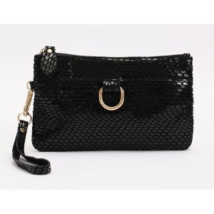 Fashion Women's Clutch With Black and Snake Print Design