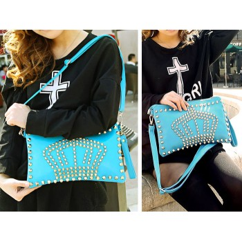 Fashion Women's Clutch With Crown Pattern and Rivets Design Blue