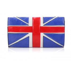 Fashion Women's Clutch With Flag Pattern and Color Block Design