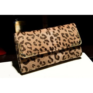 Party Women's Clutch With Leopard Print and Metal Design