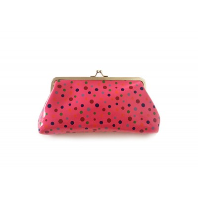 Pretty Women's Clutch Wallet With Kiss-Lock Closure and Polka Dot Design