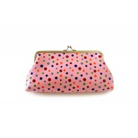 Pretty Women's Clutch Wallet With Polka Dot and Kiss-Lock Closure Design