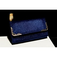 Retro Style Women's Clutch With Faux Fur and Metal Design Blue/Black
