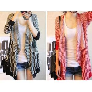 Stylish Loose Fitting Large Collar Stripe Long Sleeve Knitting Cardigan for Women