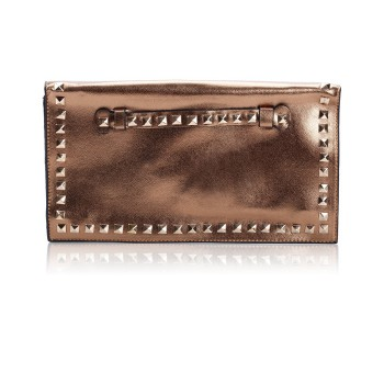 Stylish Style Women's Pure Color Clutch With Rivets Design