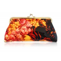 Stylish Women's Clutch Wallet With Floral Print and Kiss-Lock Closure Design