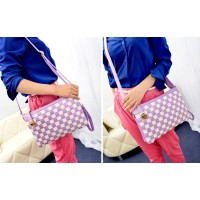 Stylish Women's Clutch With Checked and Buckle Design