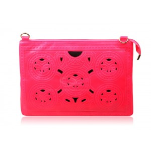 Sweet and Casual Style Women's Clutch With Candy Color Block and Openwork Design