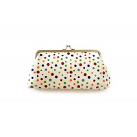 Sweet Women's Clutch Wallet With Polka Dot and Kiss-Lock Closure Design