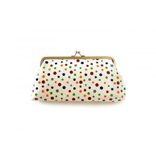 Pretty Women s Clutch Wallet With Kiss-Lock Closure and Polka Dot ...