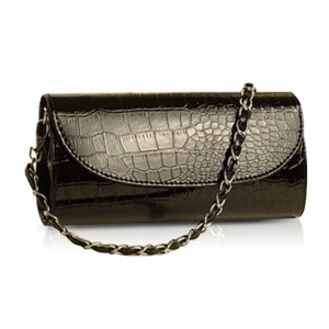 Trendy Women's Clutch With Chain and Crocodile Print Design
