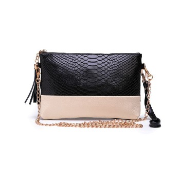 Trendy Women's Clutch With Color Block and Tassels Design
