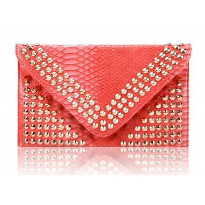 Vintage Style Party Women's Clutch With Rivets and Crocodile Veins Design Pink