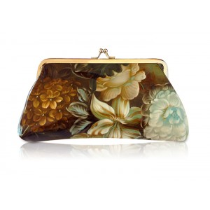 Vintage Women's Clutch Wallet With Floral Print and Kiss-Lock Closure Design