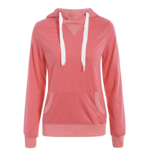 Simple Hooded Long Sleeve Pocket Design Hoodie For Women - Watermelon Red