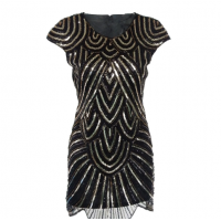 Gergeous Round Neck Sleeveless Striped Sequins Embellished Irregular Hem Women's Club Dress - Black