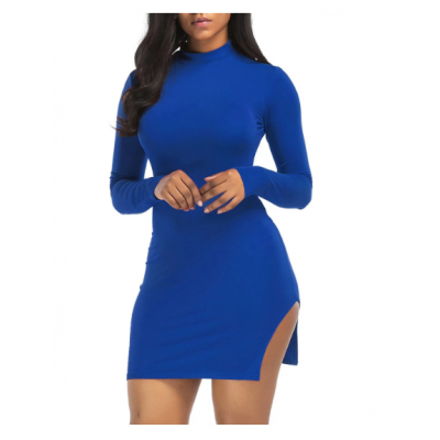 High Neck Slit Bodycon Mini Dress - Black Blue Green White Red