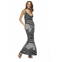 Stylish Illusion Stripe Criss Cross Plunge Neck Maxi Dress - Stripe