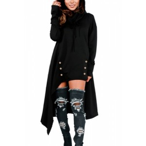 Asymmetric Hem Hooded Dress Top
