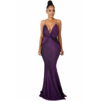 Shine Twist Maxi Dress Black Purple