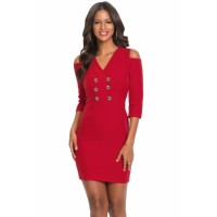 Black Cold Shoulder Sleeved Bodycon Mini Dress Red