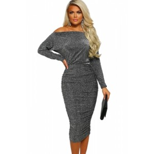Diamond Lady Gray Lurex Ruched Midi Dress