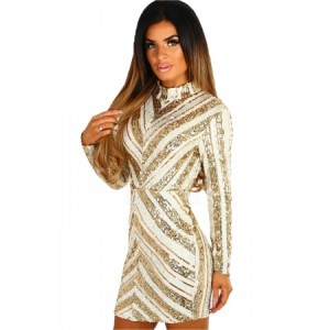 Life Of The Party Gold And Nude Sequin Long Sleeve Mini Dress
