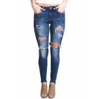 Medium Blue Wash Broken Hole Skinny Jeans