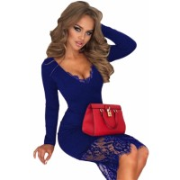 Royal Blue Eyelash Lace Overlay Long Sleeve Bodycon Dress