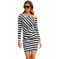 Black Striped Asymmetric Shoulder Cutout Mini Dress Navy