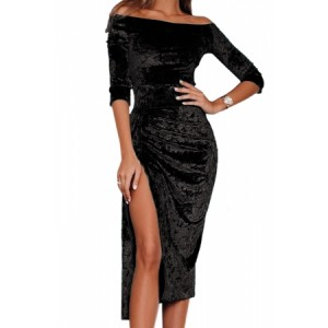 Black Velvet Off Shoulder Ruched High Slit Dress Blue