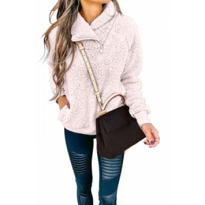 Blush Casual Winter Long Sleeves Hoodies