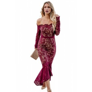 Burgundy Elegant Lace Trumpet Dress Black