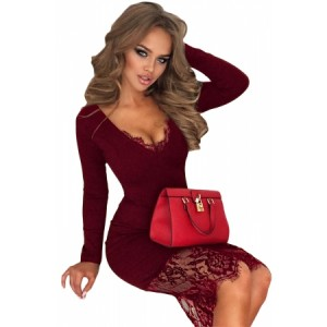 Black Eyelash Lace Overlay Long Sleeve Bodycon Dress Red
